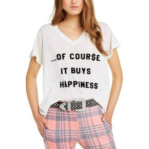 Wildfox It Buys Happiness V-Neck Tee